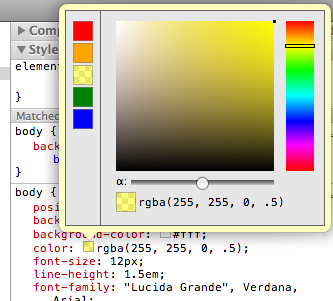 A prototype implementation of a palette using color swatches within devtools