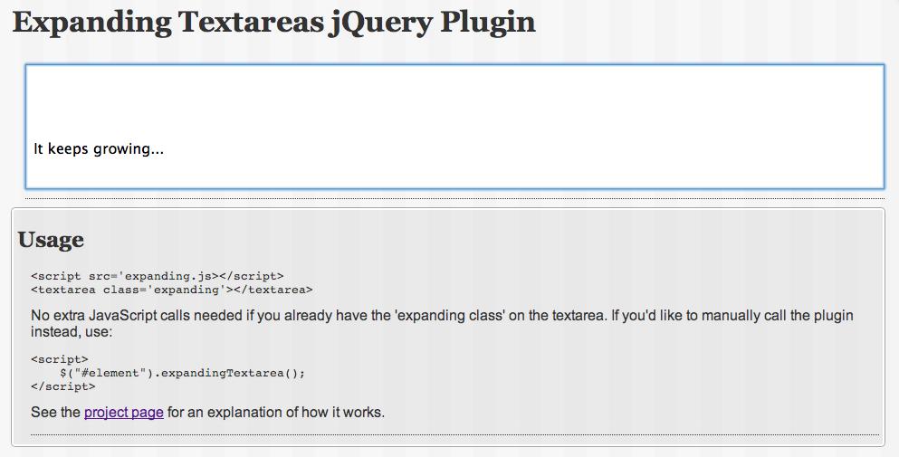 Expanding Textareas jQuery plugin