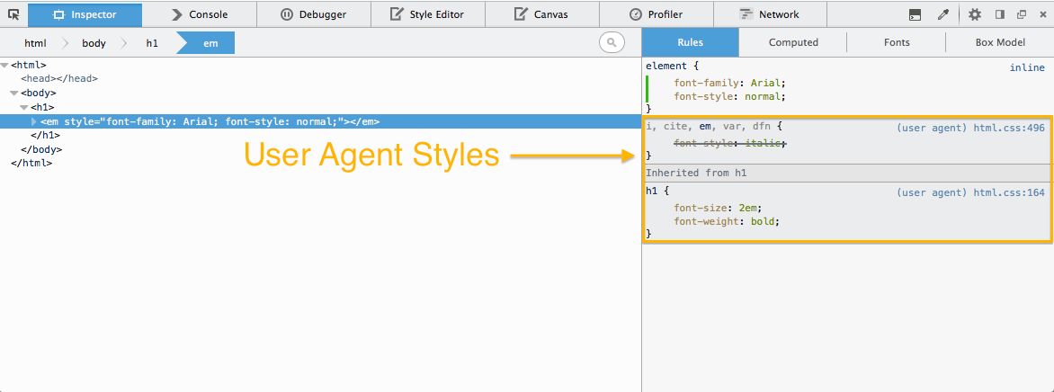 Inspect User Agent Styles in Firefox DevTools - Brian Grinstead